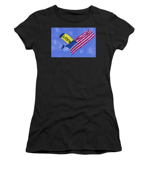 Navy Seal Leap Frogs Us Flag Women's T-Shirt