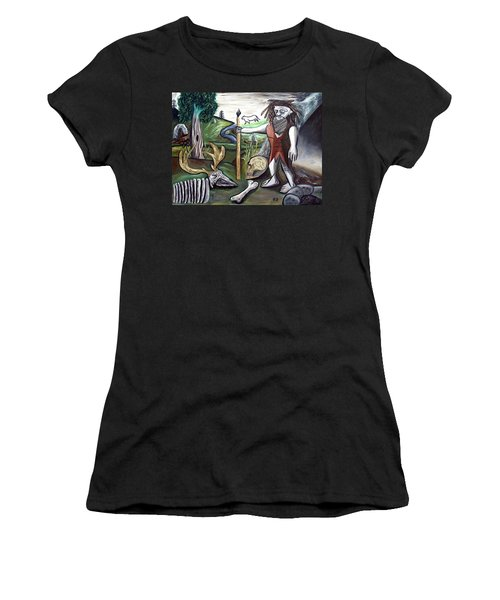 Women's T-Shirt (Junior Cut) featuring the painting Neander Valley by Ryan Demaree