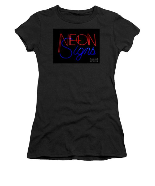 Neon Signs In Black Women's T-Shirt (Junior Cut) by Kelly Awad