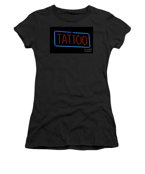 Neon Tattoo Sign Women's T-Shirt (Junior Cut) by Phil Cardamone