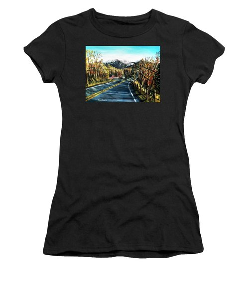 Women's T-Shirt (Junior Cut) featuring the painting New England Drive by Shana Rowe Jackson