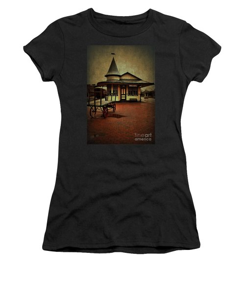 Women's T-Shirt (Junior Cut) featuring the photograph New Hope Ivyland Train Station by Debra Fedchin