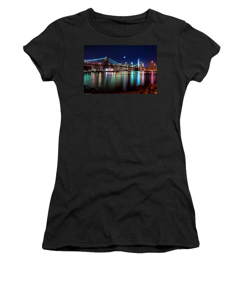 Women's T-Shirt (Junior Cut) featuring the photograph New York Skyline And Brooklyn Bridge With Crescent Moon Rising by Mitchell R Grosky