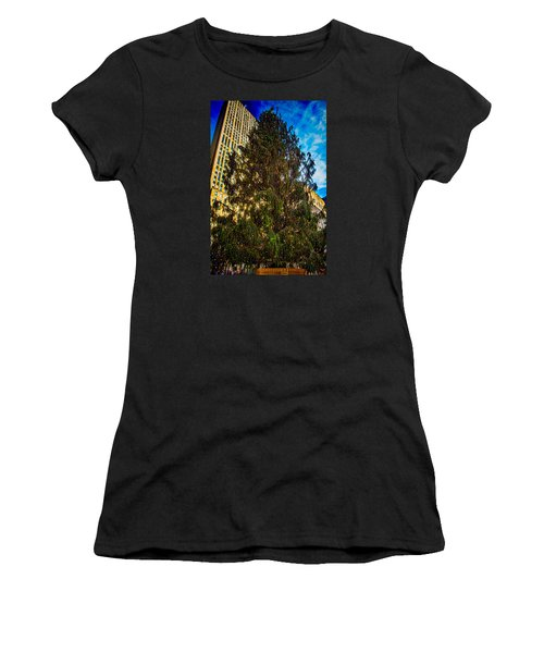 Women's T-Shirt (Junior Cut) featuring the photograph New York's Holiday Tree by Chris Lord