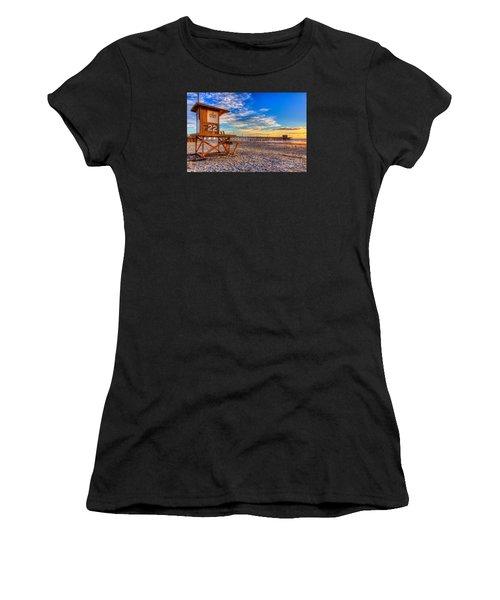 Newport Beach Pier - Wintertime  Women's T-Shirt (Athletic Fit)