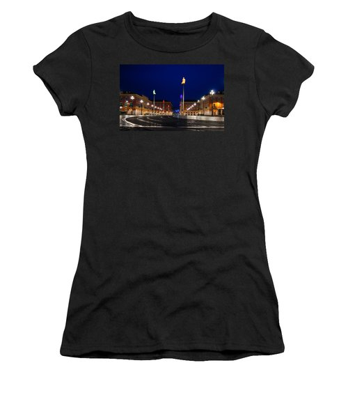 Women's T-Shirt (Junior Cut) featuring the photograph Nice France - Place Massena Blue Hour  by Georgia Mizuleva