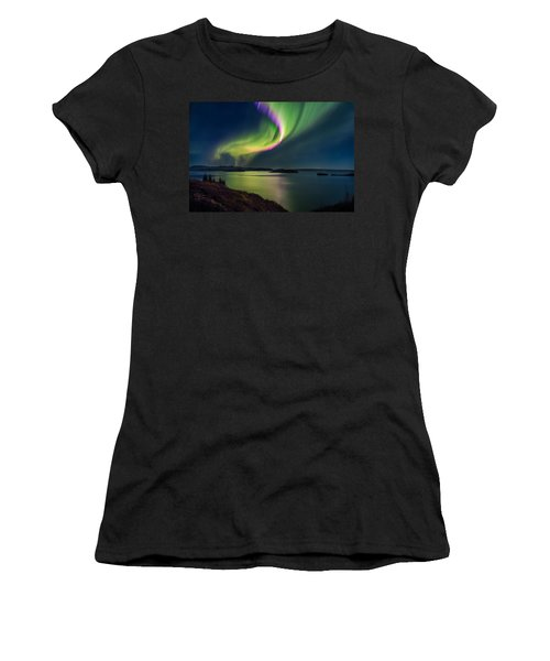 Northern Lights Over Thingvallavatn Or Women's T-Shirt (Athletic Fit)