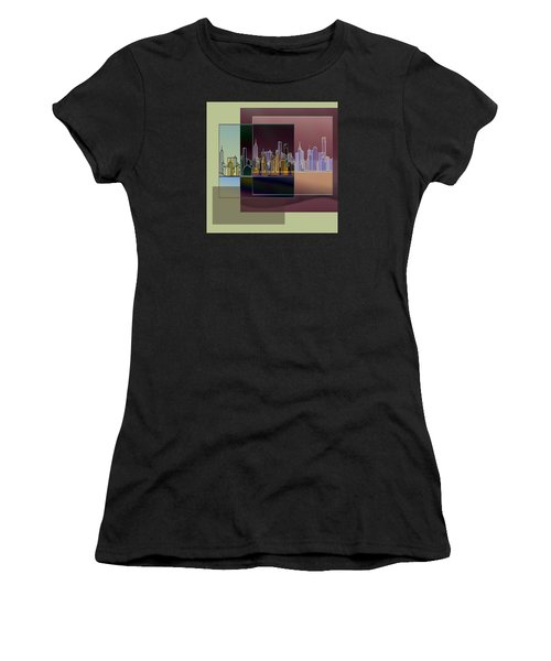Nyc Abstract-3 Women's T-Shirt (Athletic Fit)