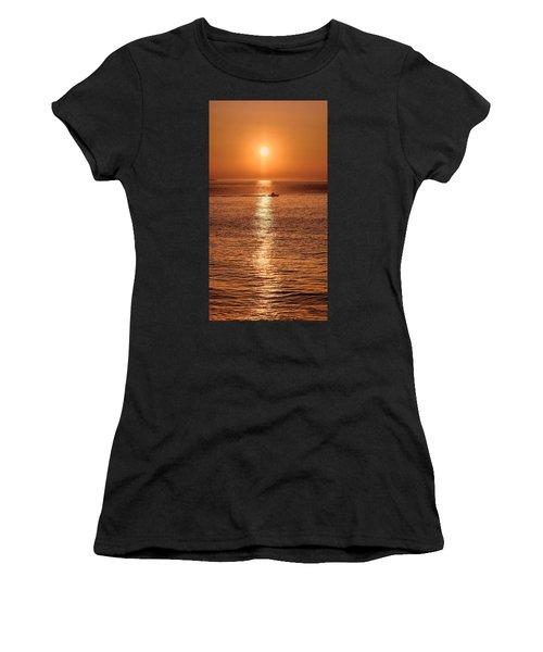 Ocean Sunrise At Montauk Point Women's T-Shirt (Athletic Fit)