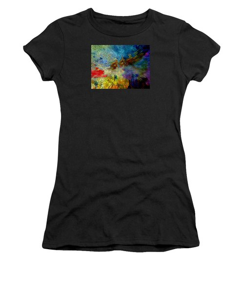Women's T-Shirt (Junior Cut) featuring the painting Oh The Joys Of Santa's Toys by Lisa Kaiser