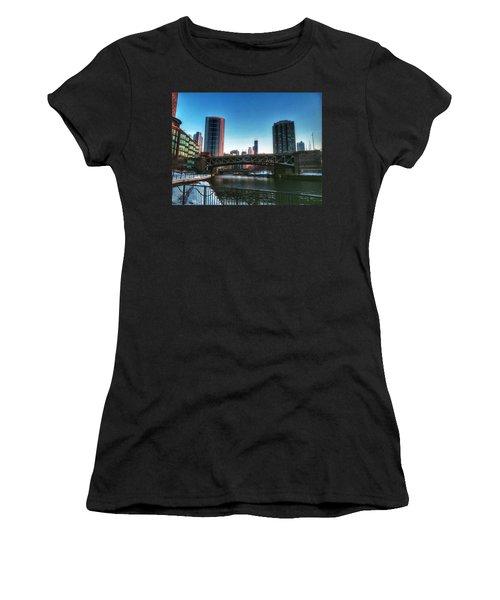 Ohio Street Bridge Over Chicago River Women's T-Shirt (Athletic Fit)