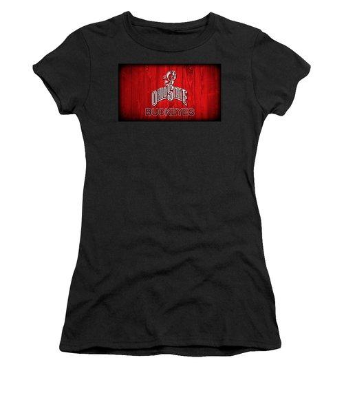 Women's T-Shirt featuring the digital art Ohio State Buckeyes Barn Door Vignette by Dan Sproul
