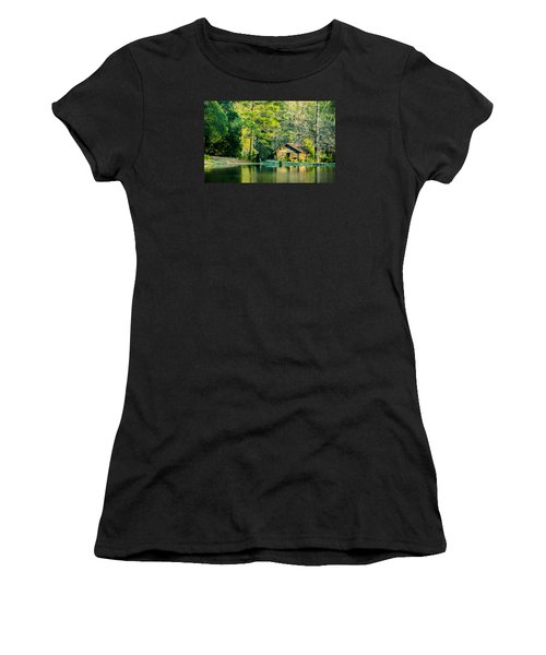 Old Cabin By The Pond Women's T-Shirt (Junior Cut) by Parker Cunningham