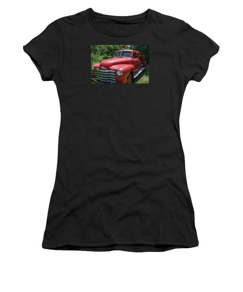 Old Chevy Fire Engine Women's T-Shirt (Junior Cut) by Susan  McMenamin
