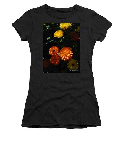 Women's T-Shirt (Junior Cut) featuring the photograph Old-fashioned Marigolds by Martin Howard