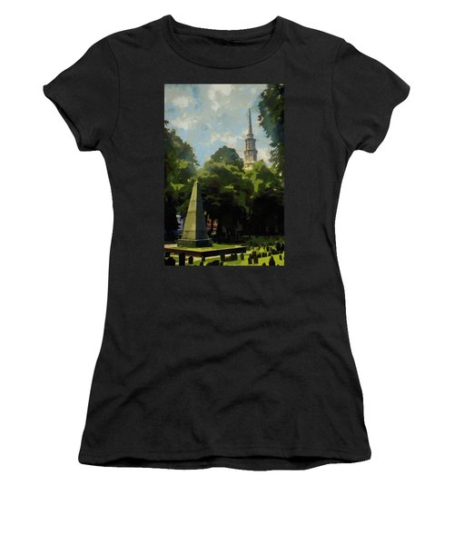 Women's T-Shirt (Junior Cut) featuring the painting Old Granery Burying Ground by Jeff Kolker