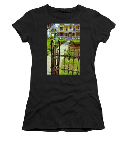 Women's T-Shirt (Junior Cut) featuring the photograph Old Green Wrought Iron Gate by Becky Lupe