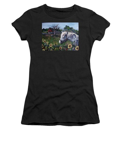 Women's T-Shirt (Junior Cut) featuring the painting Old Grey Mare by Megan Walsh