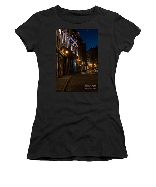 Old Montreal At Night Women's T-Shirt (Junior Cut) by Cheryl Baxter