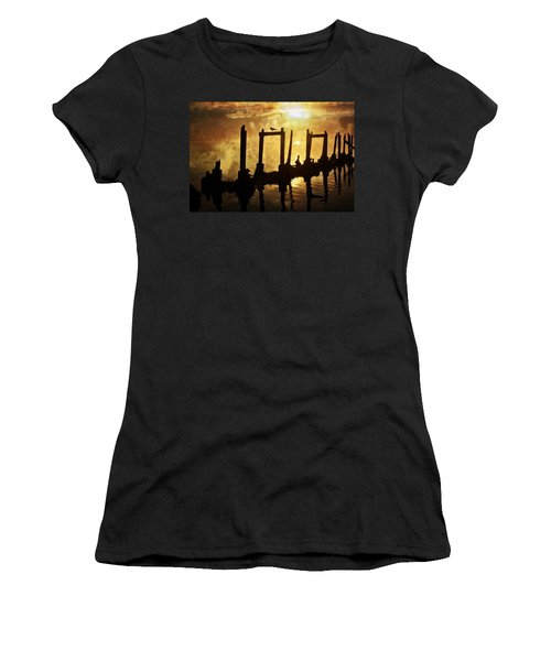 Women's T-Shirt (Junior Cut) featuring the photograph Old Pier At Sunset by Marty Koch