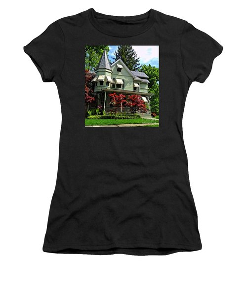 Women's T-Shirt (Junior Cut) featuring the photograph Old Victorian With Awnings by Becky Lupe