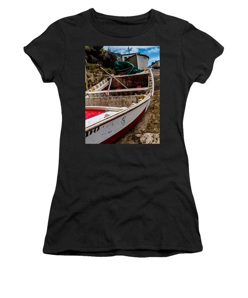 Old Wooden Fishing Boat On Dock  Women's T-Shirt