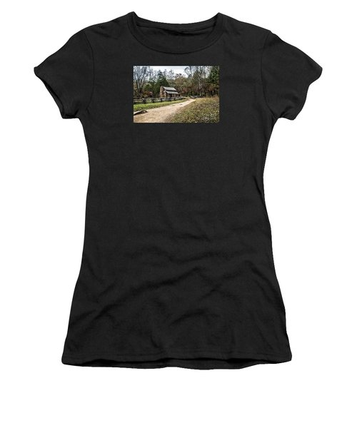 Women's T-Shirt (Junior Cut) featuring the photograph Oliver's Log Cabin by Debbie Green