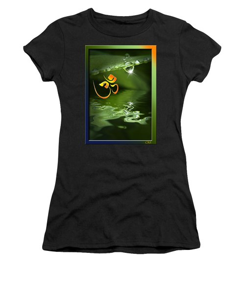 Women's T-Shirt (Junior Cut) featuring the mixed media Om On Green With Dew Drop by Peter v Quenter