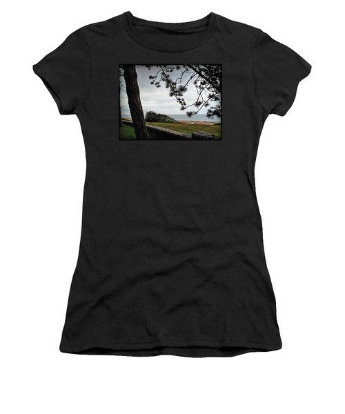 Omaha Beach Under Trees Women's T-Shirt (Athletic Fit)