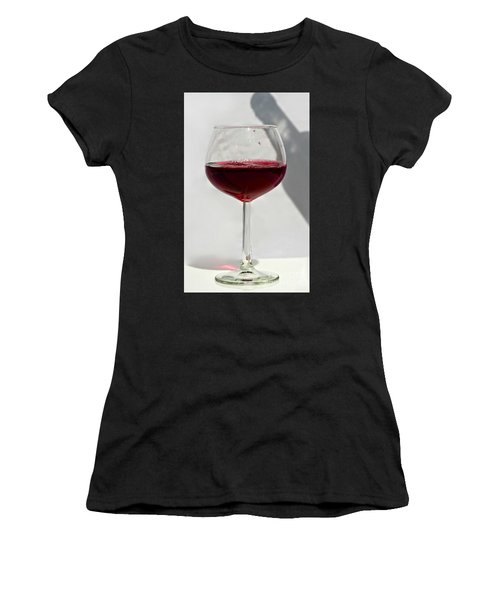 One Glass Of Red Wine With Bottle Shadow Art Prints Women's T-Shirt (Athletic Fit)