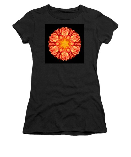 Orange Dahlia Flower Mandala Women's T-Shirt (Athletic Fit)