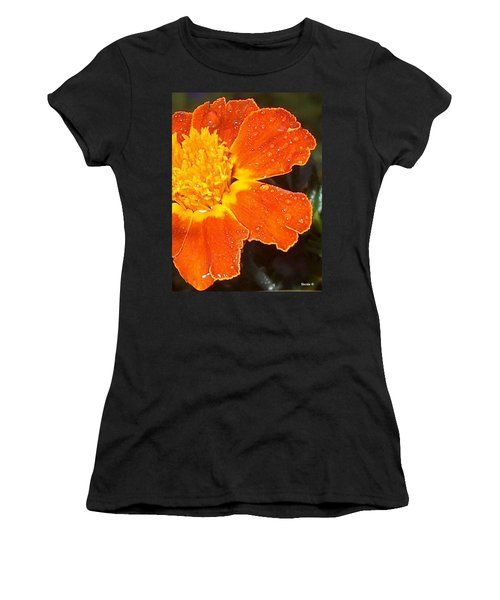 Orange Flower Women's T-Shirt (Athletic Fit)