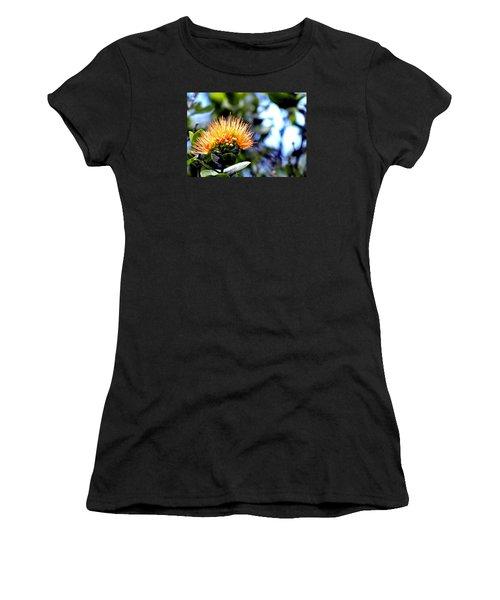 Orange Lehua On Volcano Ranch Women's T-Shirt (Athletic Fit)