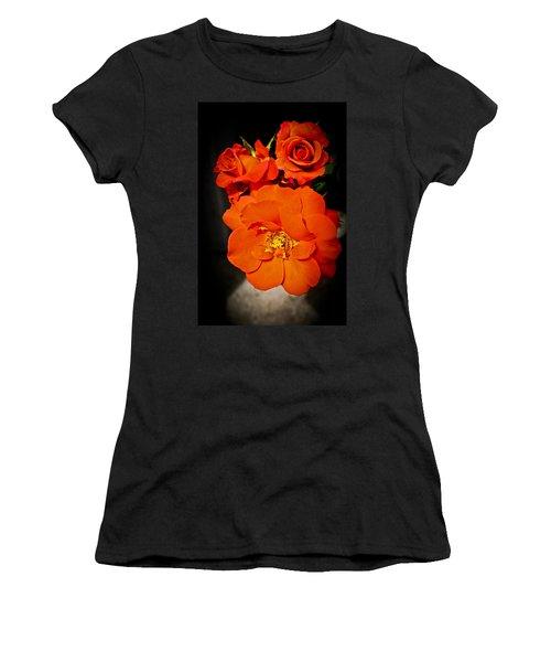 Women's T-Shirt (Junior Cut) featuring the photograph Orange Rose Trio by Joann Copeland-Paul