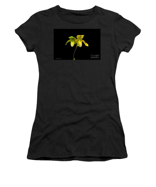 Women's T-Shirt (Junior Cut) featuring the photograph Orchid Paphiopedilum Druid Spring by Susan Wiedmann
