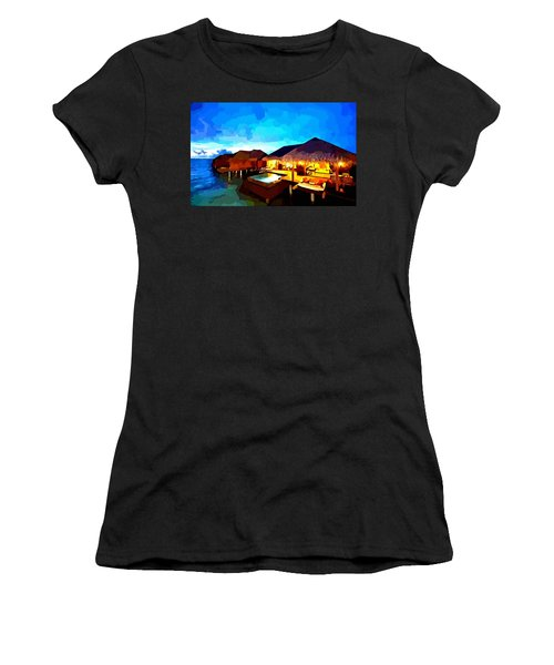 Over Water Bungalows Women's T-Shirt (Athletic Fit)