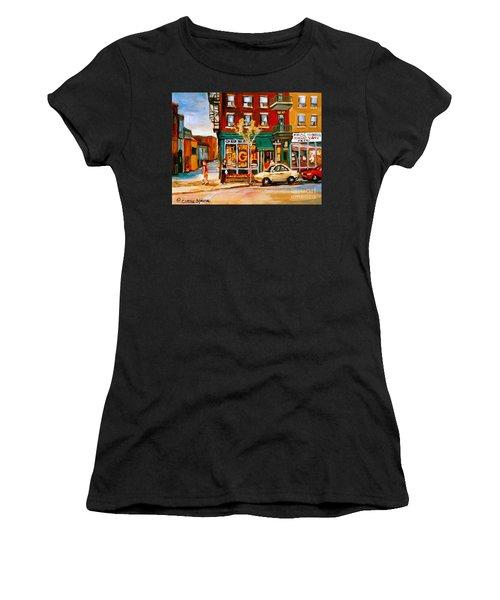 Paintings Of  Famous Montreal Places St. Viateur Bagel City Scene Women's T-Shirt