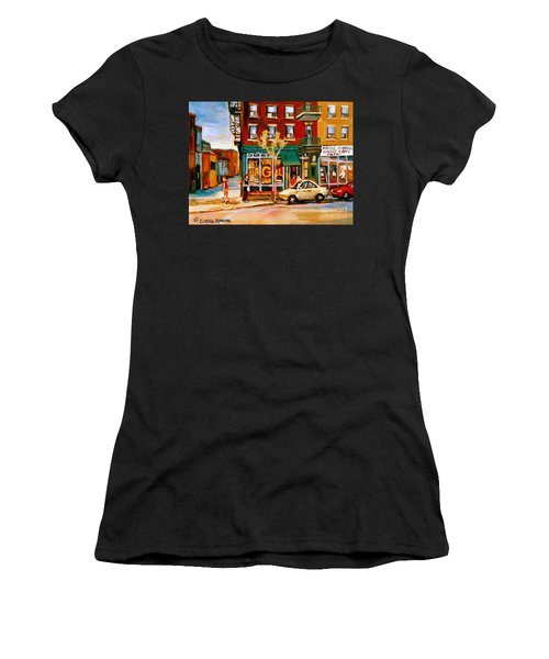 Paintings Of  Famous Montreal Places St. Viateur Bagel City Scene Women's T-Shirt