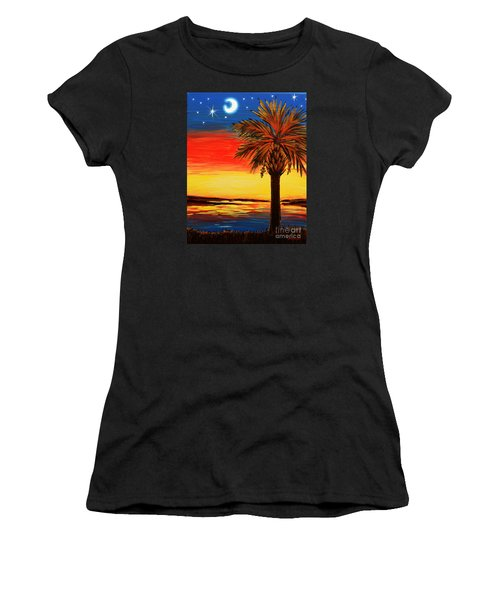 Women's T-Shirt (Junior Cut) featuring the painting Palmetto Moon And Stars by Patricia L Davidson