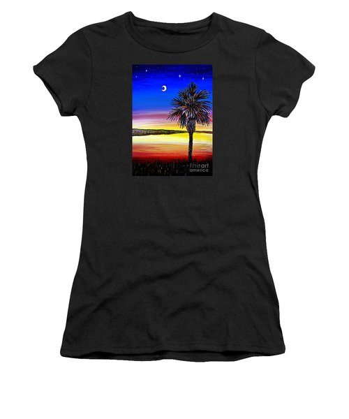 Women's T-Shirt (Junior Cut) featuring the painting Palmetto Sunset Moon And Stars by Patricia L Davidson