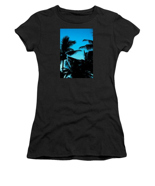 Women's T-Shirt (Junior Cut) featuring the photograph Palms At Dusk With Sliver Of Moon by Lehua Pekelo-Stearns