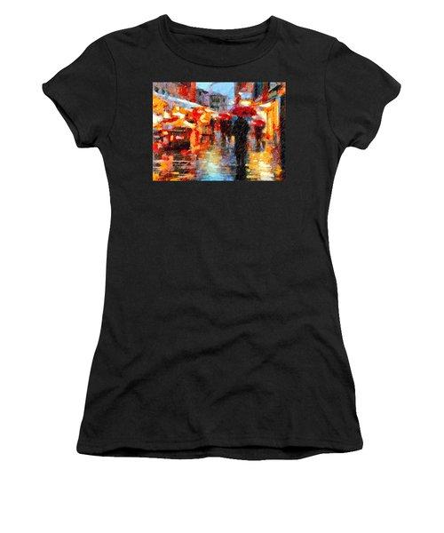 Parisian Rain Walk Abstract Realism Women's T-Shirt