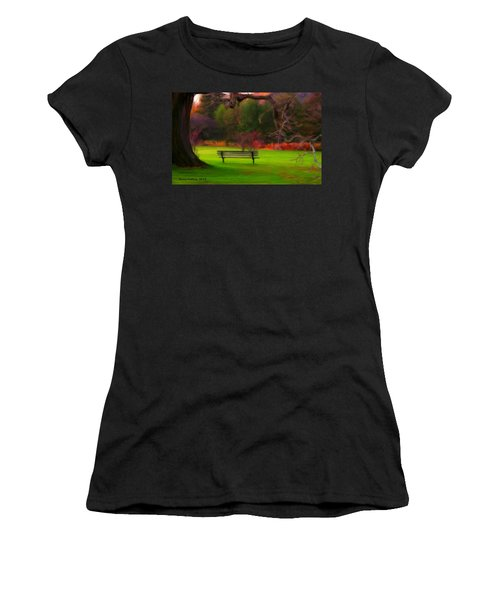 Women's T-Shirt (Junior Cut) featuring the painting Park Bench by Bruce Nutting