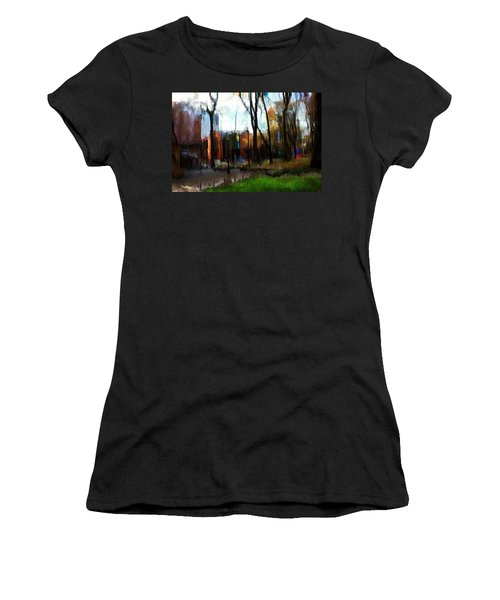 Women's T-Shirt (Junior Cut) featuring the mixed media Park Block I by Terence Morrissey