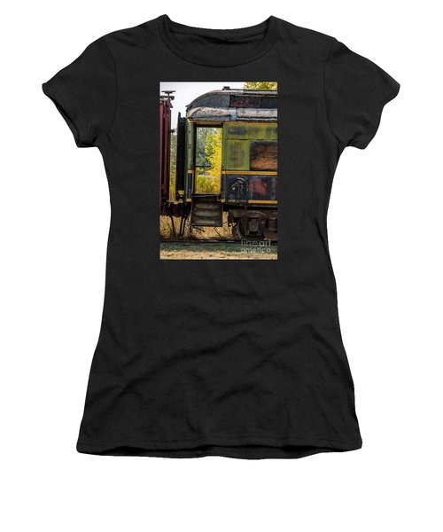 Women's T-Shirt (Athletic Fit) featuring the photograph Passenger Car Entrance by Sue Smith