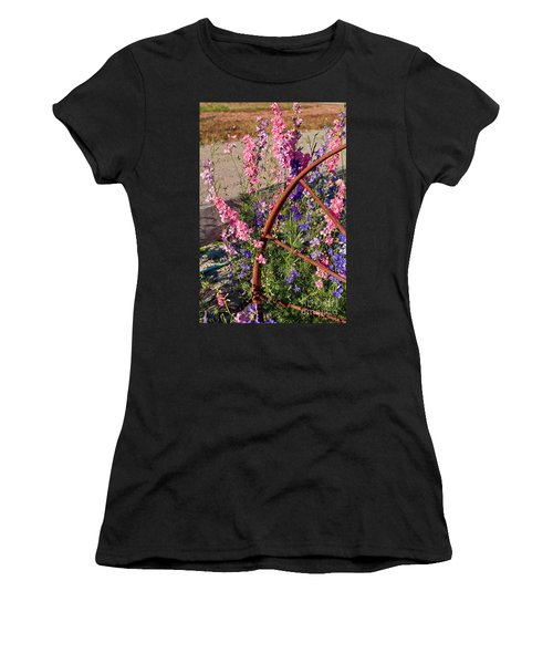 Pastel Colored Larkspur Flowers With Rusty Wagon Wheel Art Prints Women's T-Shirt