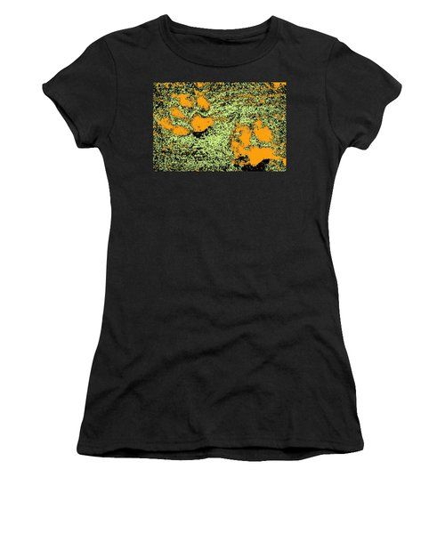 Paw Prints In Orange Lime And Black Women's T-Shirt (Athletic Fit)