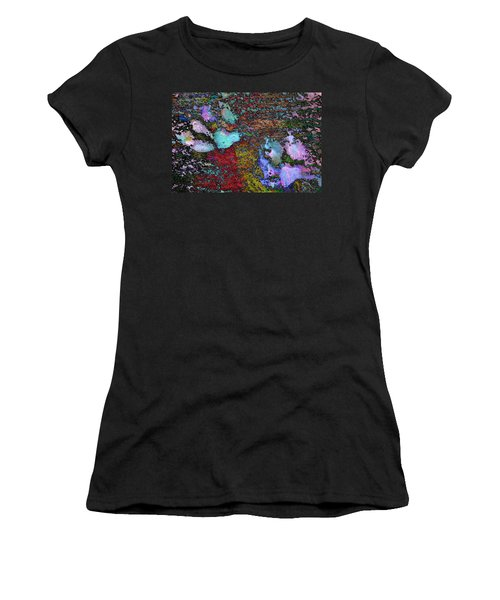 Paw Prints Lilac And Turquoise Pads Women's T-Shirt (Athletic Fit)