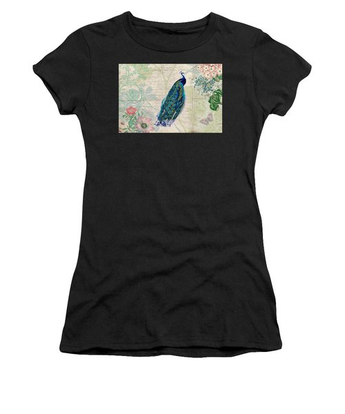 Peacock And Botanical Art Women's T-Shirt