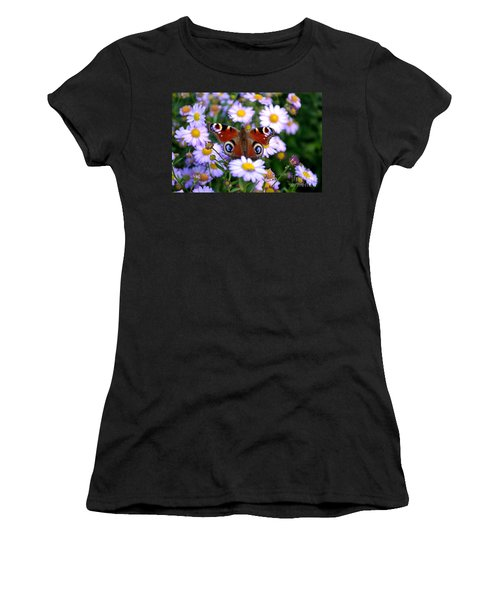 Peacock Butterfly Perched On The Daisies Women's T-Shirt
